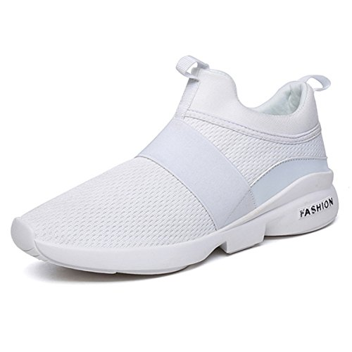 Gracosy Men's Running Shoes Mens Trainers Fashion Breathable Sneakers Athletic Mesh Lightweight Outdoor Casual Sports Shoes Gym Walking Trainers Elastic Sports Shoes For Men and Women White 7 UK