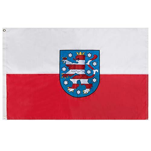 Lixure Thüringen Flagge/Fahne Premium Qualität für Windige Tage 90x150cm Stickerei-Flagge Durable 210D Nylon Draußen/Drinnen Dekoration Flagge - Nicht billiger Polyester MEHRWEG -