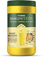 Saffola Immuniveda Golden Turmeric Milk Mix 400 g   Ayurvedic Immunity Booster Haldi Doodh   Healthy Drink for