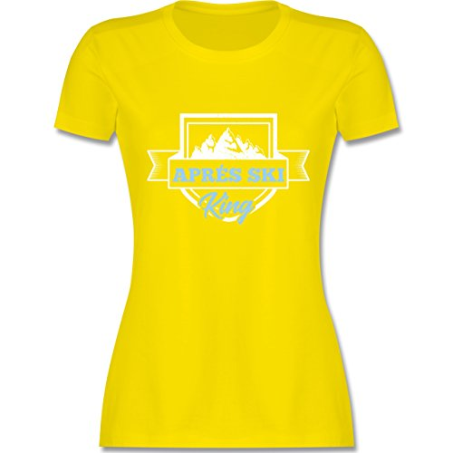 Shirtracer Après Ski - Aprés Ski King - Damen T-Shirt Rundhals Lemon Gelb