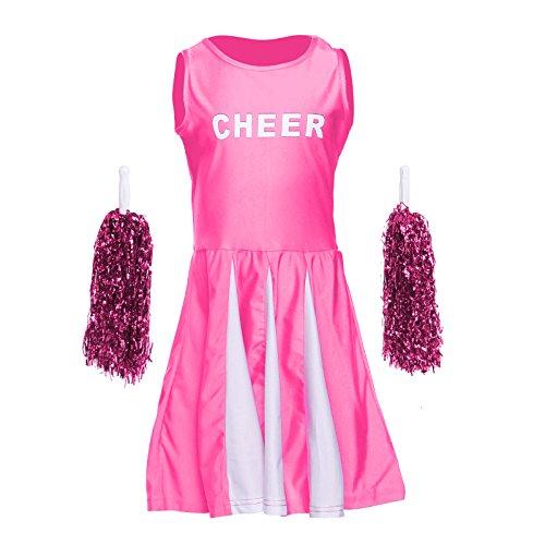 Kinder Maedchen GOGO Cheerleader Kostuem Uniform Cheerleading mit Pompoms für Karneval Fasching (Cheerleader Uniform Für Mädchen)