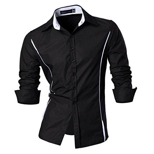 jeansian Herren Freizeit Hemden Shirt Tops Mode Langarmshirts Slim Fit 8384 Black