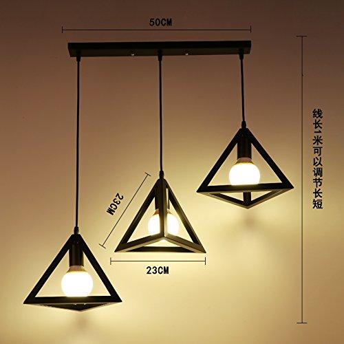 Luckyfree Kreative Modern Fashion Anhänger Leuchten Deckenleuchte Kronleuchter Schlafzimmer Wohnzimmer Küche, schwarzes Dreieck 3 fach Kombination lang warmes Licht (3 Light-anhänger-dreieck)