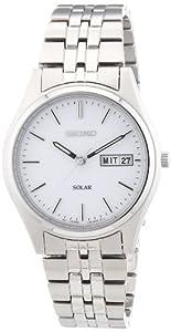 Seiko SNE031P1 - Reloj analógico de caballero de cuarzo con correa de acero inoxidable plateada (solar) - sumergible a 30 metros de Seiko