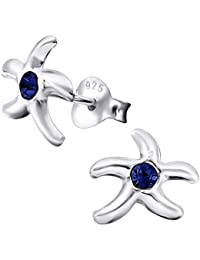 Laimons Pendientes para mujer Estrella de mar Azul Brillante Plata de ley 925