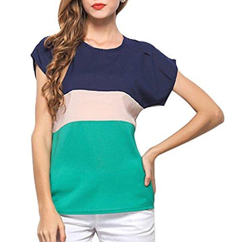 Vobaga - Chiffon Shirt - Manica Corta Camicia - Donna XL