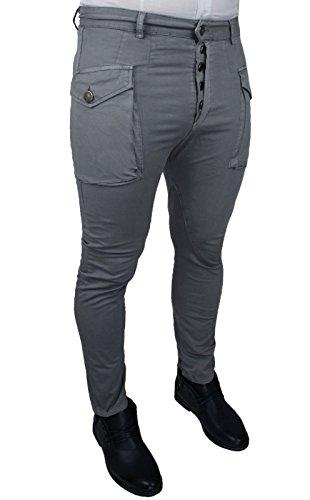 Pantaloni uomo Cargo grigio cotone jeans elasticizzato chiusura bottorni slim fit casual (Frontale Jeans Aderenti)
