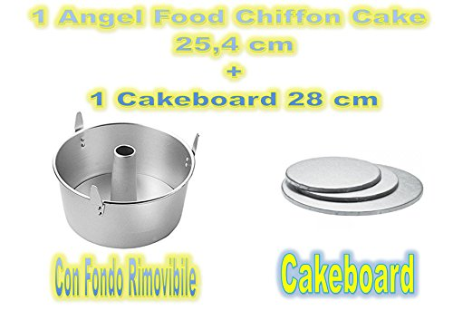 Forma Angel Food,Chiffon Cake in Alluminio Argento, Diametro 24 cm + 1 Cakeboard 28 cm - Cdc