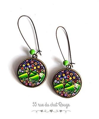 Boucles d'oreilles, Arbre de vie, Arbre coloré, l'arbre magique, l'arbre aux voeux, multicouleur