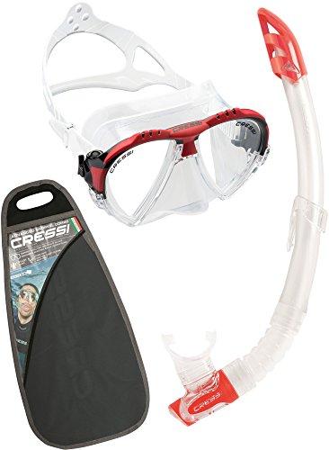 Cressi Matrix & Gamma Combo Set Maschera Subacquea e Snorkel, Unisex Adulto - Made in Italy, Trasparente/Rosso