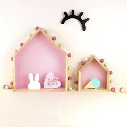 Lembeauty, set di 2 mensole in legno a forma di casetta in stile nordico naturale, mensole da parete, mensole da appendere per decorare la cameretta dei bambini rosa