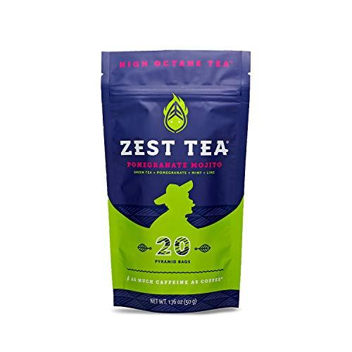 Zest Tea Premium Energy Tee mit viel Koffein - natürlicher, gesunder und koffeinhaltiger Energie Tee als idealer Kaffeeersatz - 140mg Koffein pro Portion, Granatapfel-Mojito Grüner Tee, 20 Teebeutel