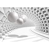 decomonkey Fototapete 3d Abstrakt Kugeln weiß grau Abstrakt 350x256 cm XL Design Tapete Fototapeten Vlies Tapeten Wandtapete Vliestapete moderne Wandbild Wand Schlafzimmer Wohnzimmer Tunnel