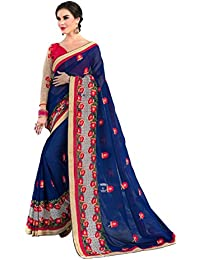 Pahal Fashion Women's Georgette Saree With Blouse Piece (Mor_Navy Blue)