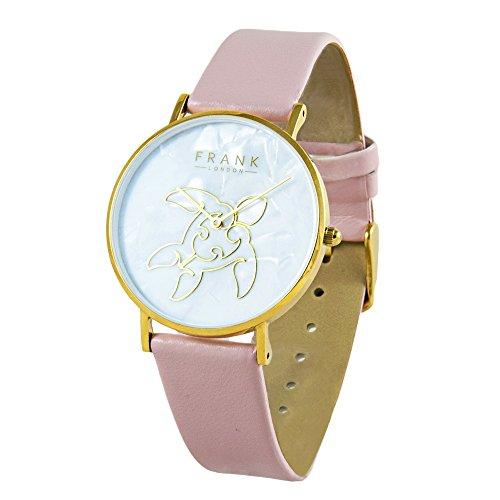 FRANK London Damen Gelb Gold Meer Schildkröte Quarzuhr mit Pink Leder Strap und Perlmutt Zifferblatt