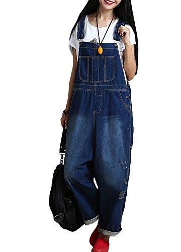 Voguees Damen Breite Beine Hosen Loose Fit Denim Jumpsuit Art 1 Blau