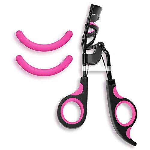 Poualss Edelstahl Wimpernzange mit 2 kostenlosen Ersatz-Silikon-Pads Wimpernformer Make-up-Tool für gebogene Wimpern (3 Stück)