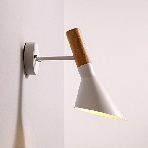 Skandinavische moderne, minimalistische Schwarze amerikanische Windindustrie LOFT kreative Persönlichkeit Wohnzimmer Schlafzimmer Bett Wandleuchte Gang (Farbe: weiß) -
