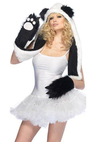 Panda Kostüm Plüsch - Fell-Mütze mit Handschuh-Schal CUTE PANDA Kostüm für Straßenkarneval