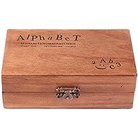 DEBEME 70pcs Nmero de madera sellos de goma de letra del alfabeto Stamper Sello fijado Caso Inferior Superior de Capital