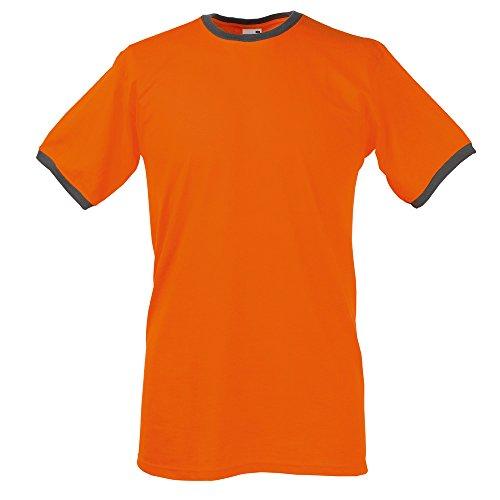 Ringer T-Shirt von Fruit of the Loom S M L XL XXL verschiedene Farben Orange