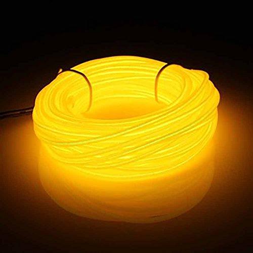 Neon-LED-Licht-EL-Draht, 10 m, flexibles EL-Seil, Neonschild, wasserdicht, LED-Streifen, Stroboskop, Party-Dekoration, für Party-Dekoration, Gelb (1 x Gelb)