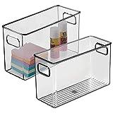 mDesign Juego de 2 cajas de almacenaje con asas integradas – Cajas organizadoras para cocina, baño o material de oficina – Organizador de escritorio en plástico – gris
