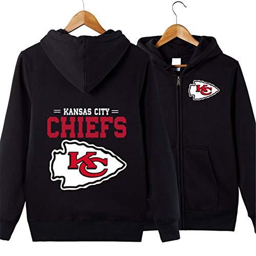 SZRXKJ Herren Hooded Langarm Kansas City Chiefs Sport einfarbig Reißverschluss Hoodies(3XL,schwarz)