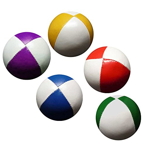 Set 5 Jonglierbälle 62mm 90g jedes (Bi-Color) Rot & Weiß, Gelb und Weiß, Blau und Weiß, Grün und Weiß, Violett und Weiß