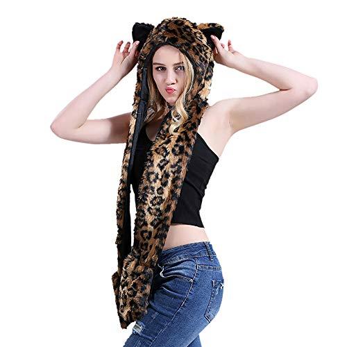 Und Leopard Kostüm Kapuze Handschuhe Kinder - TopTie Tiermütze mit Kapuze, Schal mit Pfotenabdrücken, Handschuhe für Erwachsene und Kinder Gr. One Size, Leopard