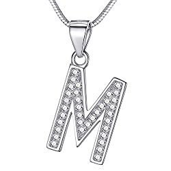 Morella Damen Buchstabenhalskette Halskette und Anhänger Buchstabe M aus 925 Silber rhodiniert 45 cm lang