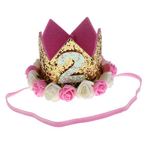 MagiDeal 1-3 jahr Geburtstag Baby Mädchen Haarschmuck Stirnband Baby Krone Prinzessin Tiara Haar Zubehör - BGalt-2 (Tiara-haar-zubehör)