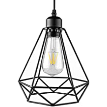 Industrial Light verniciato Ferro sospensione, ONEVER Black Diamond Cage Pendant Sconce Luce, Hanging Droplight della lampada, E27 zoccolo, AC 85-240V, senza lampadine