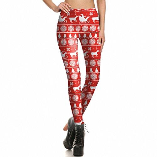 tsmann Elch Muster Frauen Leggins 3d Drucken Weihnachten Dekoration Frauen Leggins Leggings SKDK 004L (Mechanische Halloween-dekoration)