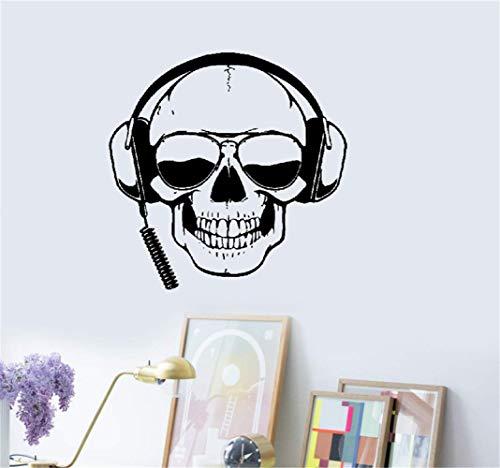 Wandaufkleber Kinderzimmer wandaufkleber 3d Schädel mit Kopfhörer Gamer Sonnenbrille Boys Room