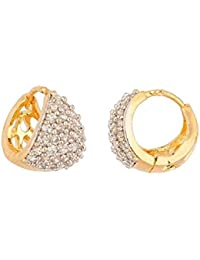 Aabhu Sparkling Top Quality CZ Designer Gold Plated Tops Bali Hoops Jewellery For Women And Girls