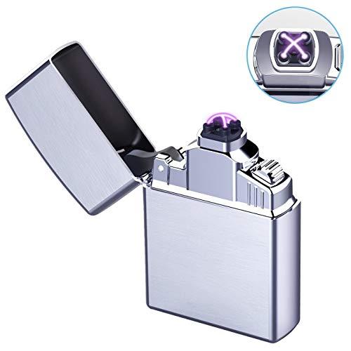 Arco Encendedor Mechero Electrónico USB Recargable USB Batería Doble láser sin Llama Resistente...