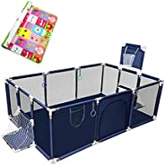 SKYTOUCHSafety Large Portable Play Pen For Twin, Baby And Toddler Indoor Outdoor Baby Playpen With Extra Tall
