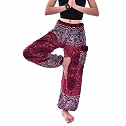 Pingtr Men Women Yoga Pants,men Women Thai Harem Trousers Boho Festival Hippy Smock High Waist Yoga Pants (Wine)