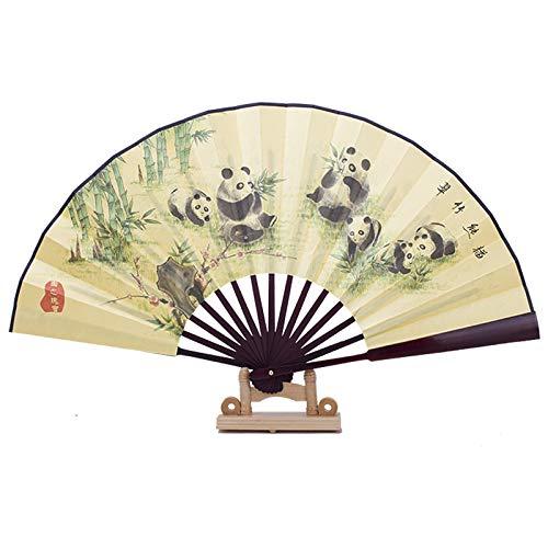 XIAOHAIZI Handfächer,Sommer Chinesischen Stil Männer Bambus Fan Gelben Hintergrund Pflanze Grün Bambus Tier Panda Vintage Seide Fan Für Zuhause Wanddekoration Männer Geschenk Fan U-Bahn Faltfächer (Panda-bambus-pflanze)