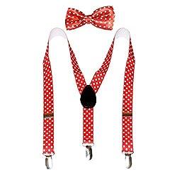 Navaksha Red Color Polka Dots Design Adjustable Kids Suspender with Matching Bowtie