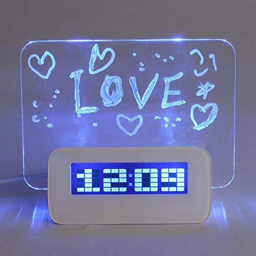 BABAN multifuncional LED Digital Alarma Reloj/Calendario/termómetro + fluorescente rotulador pizarra...