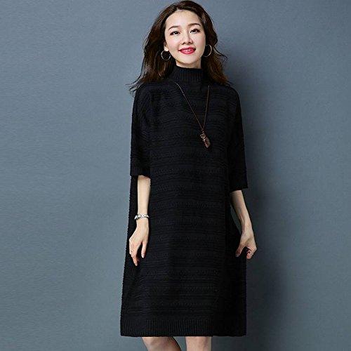 Good dress Weibliche Kragen in Den Ärmeln Pullover Lange Locker Große Größe Absicherung Stricken Primer Rock , schwarz , Einheitsgröße