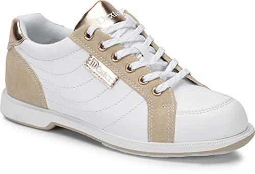 Dexter Groove IV - Weiß/Nubuck/Rose Gold - extra Breit - Bowling-Schuhe Damen, für Rechts- und Linkshänder in den Schuhgrößen 36-41 und Mein-Bowlingshop Schuhtasche im Set Größe 38