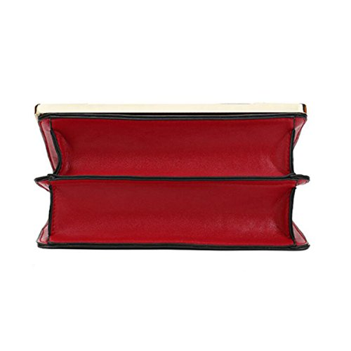 Spalla Di Cuoio Diagonale Piccolo Mini Donna Quadrata Bag,White Red