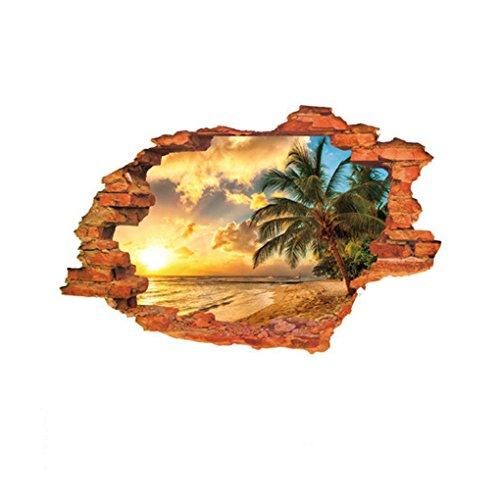 Fornateu 3D-Strand Sonnenschein stereoskopische Wand-Aufkleber im Loch der Mauer