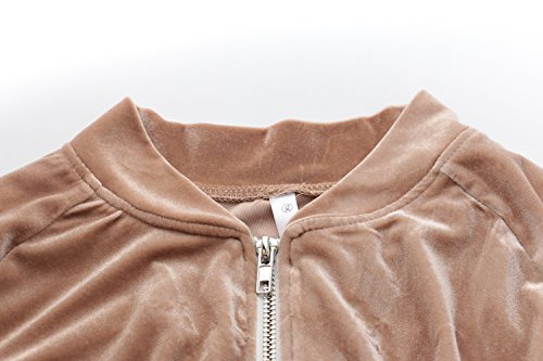 LANOMI Damen Freizeitanzug Sportanzug Jogginganzug Sportjacke Jacke mit Reißverschluss Sporthose Hose mit Tunnelzug Khaki