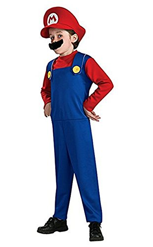 Toad Kostüm Brothers Mario - Rosfajiama Men's Super Mario Costume Classic Brothers Boys Halloween Child Adult Cosplay Costume Kids Medium