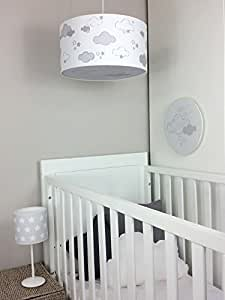 luminaire enfant lampe de plafond suspension blanc avec nuages gris clair b b s. Black Bedroom Furniture Sets. Home Design Ideas