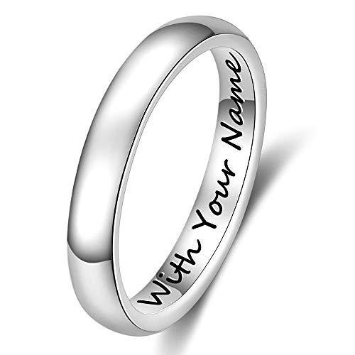 DaMei Personalisierte Damen Edelstahl Ringe für Ihn und Sie mit 2 Namen offen Gravur Ringe Männer & Frauen für Ehepaar Trauringe Freundschaftsringe Paarringe BFF Jahrestag Geburtstag (60 (19.1))